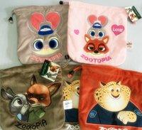 Wholesale Zootopia drawstring Bag Plush Cosmetic Pouch Polaroid Camera Bag Coin keys wallet Purse change pocket holder organize cm KKA404