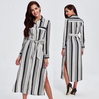 Wholesale 2016 Products Suit dress Long Fund Loose Coat Autumn New Pattern Self cultivation Thin Stripe Windbreaker