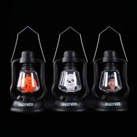 batteries tricks - 2016 Halloween decoration Trick toys Mini pumpkin lantern light with sound Ghost witch hand lamp Battery power supply for children gift