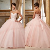Wholesale Ball Gown Pink Quinceanera Dresses Lace Appliques Beaded Red Puffy Sweet Dresses Vestidos De Anos Long Party Gowns