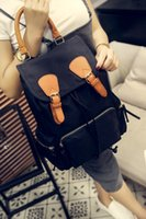 Wholesale Backpack Rucksack lady women casual double shoulder drawstring School Bag Campus black army green color