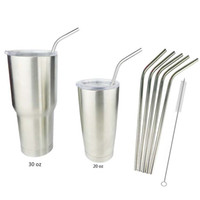 Wholesale Yeti Tumbler Rambler Cups Straw Stainless Steel Straw Metal Drinking Straw Beer Juice One Set Including Straws And Cleaning Brush