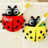 animal bathroom accessories - Lovely Ladybug Toothbrush Holder Cartoon animal Suction Hook Toothbrush Rack Wall Suction Holder Bathroom Accessories Suction Hooks Colors