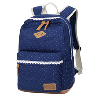 Wholesale High Quality Dotted and Lace Canvas Bag Backpack School for Teenager Girls Laptop Bag Printing Women Backpacks Mochila