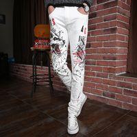 alpaca pants - Alpaca Men Brand Nightclub Star Style Skinny Jeans Wolf Pattern Printed White Fashion Jeans For Men