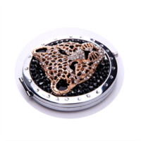 Wholesale 1PC New Leopard Black Forest Pocket Compact Crystal Handbag Mini Mirror Makeup Cosmetic Portable Double Side mirror