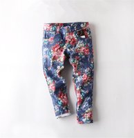 Wholesale 2016 New Children s Jeans Fashion Summer Thin Section Girls Printed Jeans Fit Casual Children Trousers GI2131