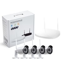 al por mayor sistemas de seguridad cctv de wifi-Cámara CCTV IP inalámbrico Wifi 4 canales al aire libre HD 720P NVR sistema 4pcs 1MP IR al aire libre P2P cámara IP sistema de vigilancia del sistema de vigilancia
