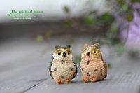 antique bird figurines - 4 Styles Micro Fairy Garden Miniatures Figurines Owl Birds Animal Action Figure Toys Ornament Terrarium Accessories Movie Props jy769