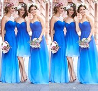 Wholesale 2016 New Gradient Colors Bridesmaid Dresses Sweetheart Pleats Chiffon Backless A Line Beach Wedding Party Dresses Girls Prom Dresses BO9264