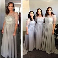 Wholesale Plus Size Bridesmaid Dresses New Sheer Jewel Neck Half Sleeves Beaded Sequins Long Chiffon Summer Wedding Bridesmaids Gowns Party Dress