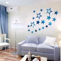 finest estrella de cinco puntas espejo arcylic wall stickers diy art decal etiqueta adhesivo mural removible para sala de estar dormitorio cuarto de bao lm
