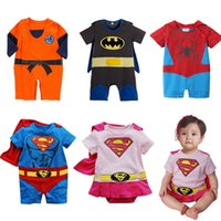 Wholesale 2016 Baby Boy Girl Cartoon Jumpsuit Superman Goku Batman Spiderman Romper Smock Toddler Halloween Costume Newborn onesie Clothes BY DHL