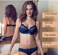 Wholesale new Upscale Luxury Embroidery Underwear sets Ultra thin lace Bra Comfort Strap Bra Sexy Underwear sets Ladies Bra Women s Lace women s panti