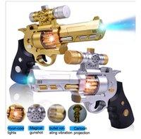 Wholesale New children electric music toys gun flashing lights vibration projection gun toy boys gun toys dhl