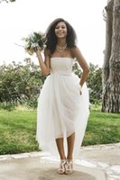 arrival details - 2016 New arrival custom made Simple Beach wedding dresses Strapless Ivory Tulle A line Simple High low Wedding gowns