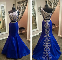 Wholesale Gorgeous Royal Blue Beaded Mermaid Prom Dresses One Shoulder Trik Ediz Rhinestones Sweep Train Formal Evening Special Occasion Gowns