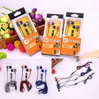 Wholesale Universal mm In ear Headphones Super Bass Earphones Headsets Wired Braid Cable Mic Earbuds For iPhone Samsung Cellphones with Retail Box