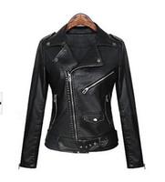 Wholesale 2016 Autumn Winter Fashion Woman black Bomber Leather jackets Ladies Faux Leather Coat Slim Leather Jacket High Quality S M L