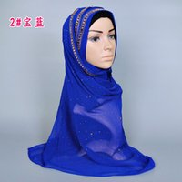 Wholesale Gauze Scarf Muslim Hijabs for women plain color with Rhinestone colors hot sale Muslim scarves cm MSL04
