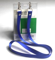 Wholesale Soft pc PVC name badge holder with rope colors option string transparent card holders with lanyard