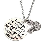 age animals - 2016 Trendy Laughter is Timeless Imagination Has No Age And Dreams Are Forever cute cartoon Mickey Minnie ears letter engraving necklaces