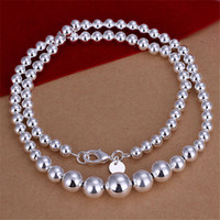 Wholesale Big small Beads necklace sterling silver necklace STSN195 brand new fashion silver Chains necklace factory direct sale
