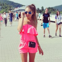 Wholesale 2016 Women Rompers and Jumpsuit Sexy Strapless Fashion Solid Candy Color Summer Shorts Frill Shorts