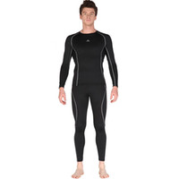 Wholesale Men Sport Suits Nylon Running Tights Sets Body fit Fitness Yoga Polyester T shirt Pants Men Long Sleeve Jersey Pants Suit Outdoor Clothing