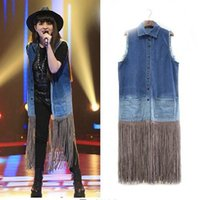 Wholesale PUNK Style Gradient Jeans Tassel Stitching Long Paragraph Vest Coats Loose Casual New Autumn Women Harajuku Style Tops Outwear