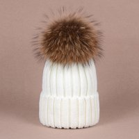 Cheap Unisex Women really big hair ball raccoon fur ball cap wool knit hat thick fur ball hats Good Gifts