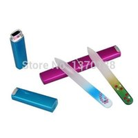 Wholesale shipping New Crystal Glass Nail File Durable Colorful Files Manicure Device Tools Case