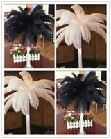 Wholesale inch Black White Ostrich Feather Plume for Wedding Centerpieces Table Party Decoration TNM