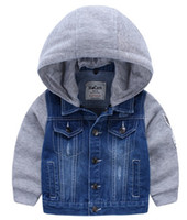 bleu veste en jean à capuche classique pour garçon coton tricoté manches longues marque logo poches boutons de conception