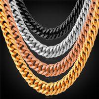 anniversary platinum - U7 Men Gold Chain Necklace quot MM K Gold Black Gun Rose Gold Platinum Plated Necklaces Bracelet Classic Accessories