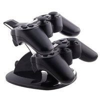 Wholesale Hot Sale in Black LED Light Quick Dual USB Charging Dock Stand Charger For PlayStation For PS3 Controller Console