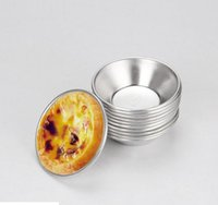 Wholesale 50pcs Egg Tart Aluminum Cake Cup cm cm Pudding stand Cakes Mould Mold Bakeware Maker Mold Tray Decorator kitchen tools