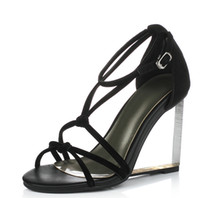 Spool Heel american wedges - shoes women sandals European American fashion wedges high heels shoes comfortable dress shoes woman Platform sandals