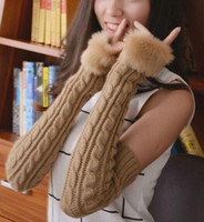arm knit - New Fingerless Gloves Arm Warmer Extra Long Winter Fuax Fur Mittens Knitted Ribbed