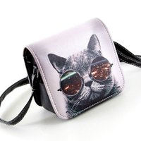 big cat lots - Carteras Mujer Marca Women PU Leather Cat Wearing Big Glasses Print Shoulder Handbags