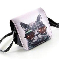 big cat shoulder - Carteras Mujer Marca Women PU Leather Cat Wearing Big Glasses Print Shoulder Handbags