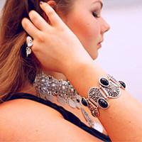 big ids - The New Europe and US The Big Wind of Turkey Folk Style Retro Carved Black Gemstone Bracelet Jewelry