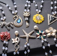 autumn prayer - Necklaces Autumn And Winter Long section BeadedOpal Rhinestone animal Prayer beads NecklacesNecklace Accessories