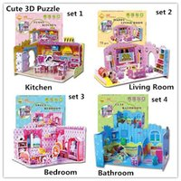 Wholesale 4pcs set Hot Selling Puzzles Kids Educational Toys DIY D Puzzle paper For Children Adults House girls gifts H011