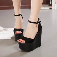 Wholesale Sexy Shoes For Ladies - Sexy Woman Untra High Heel Thick Heel Wedge Platform Pumps Lady Sandal Shoe Party Prom Wed Shoe for Woman