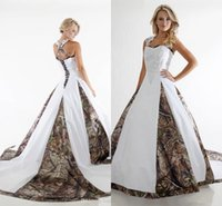 Wholesale Custom Made Camo Ball Gown Wedding Dresses Cross Back Appliques Camouflage Lace up Bridal Gowns Vintage Spring Wedding Dresses