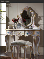 antique dressing mirror - Italian Classic furniture high end classic solid wood furniture cracking paint dressing table and mirror