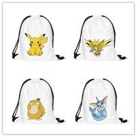 ball organizers - Poke Drawstring Backpack D Pocket Shopping Bag Fashion Monster Storage Bag Poke Go Pikachu Organizer Baggu Poke Ball Gifts Sack Bags JF