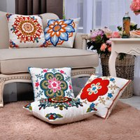 adult room colors - New Arrivals High Quality Cotton Embroidery Pillow Cover Living Room Sofa Cushions Five Colors Square Pillowcase X45CM