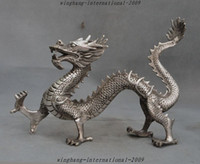 Wholesale Chinese Silver Statue - Chinese Fengshui Silver Zodiac Animal Auspicious lucky Dragon Statue decoration Statue Halloween